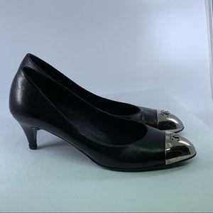 Chanel Black Leather Pumps Logo Metallic Toe 38.5